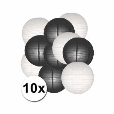 Party lampionnen wit en zwart 10x