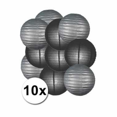 Party lampionnen zilver en zwart 10x