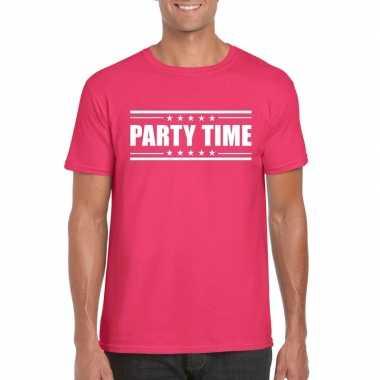 Party time t-shirt fuchsia roze heren