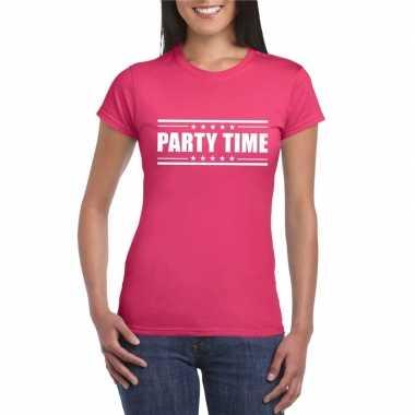 Party time t-shirt fuscia roze dames