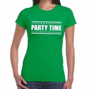 Party time t-shirt groen dames