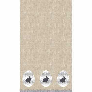 Pasen tafelkleed/tafellaken konijn rustiek grijs/beige 138 x 220