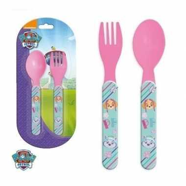 Paw patrol kinderbestek roze vork met lepel 14 cm
