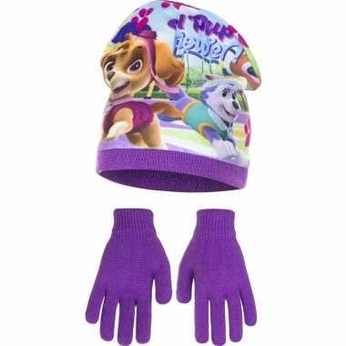 Paw patrol muts met handschoenen paars voor meisjes