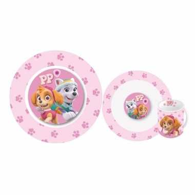 Paw patrol roze kinderservies 3-delig