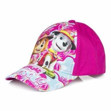 Paw patrol zomer petten/caps roze voor kids