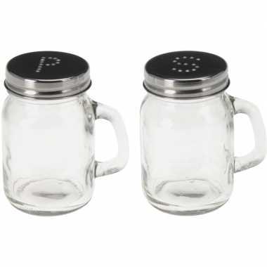 Peper en zout potjes van glas 8,5 cm