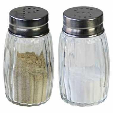 Peper en zout stel vaatjes/strooiers 7 cm