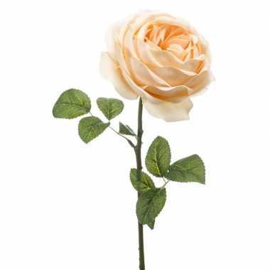 Perzik roze roos kunstbloem 66 cm