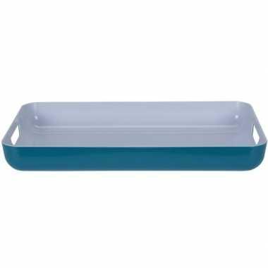 Petrol blauw/wit kunststof dienblad/serveerblad 42 cm