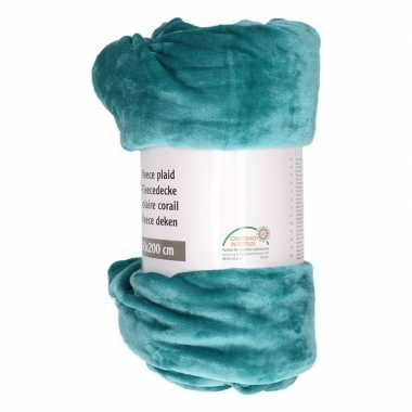 Petrol blauwe fleece deken 150 x 200 cm