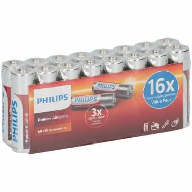 Philips power alkaline aa batterijen 16 stuks