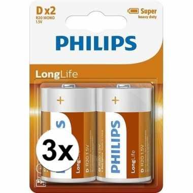 Phillips ll batterijen r20 1,5 volt 6 stuks