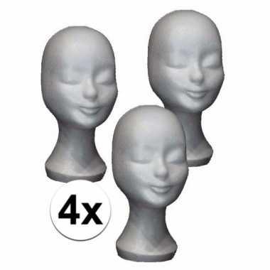 Piepschuimen paspop hoofd wit 30 cm