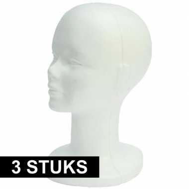 Piepschuimen paspop hoofd wit 30 cm 3x