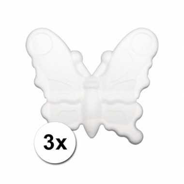 Piepschuimen vlindertje 12,5 cm 3 stuks