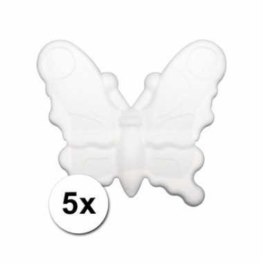 Piepschuimen vlindertje 12,5 cm 5 stuks