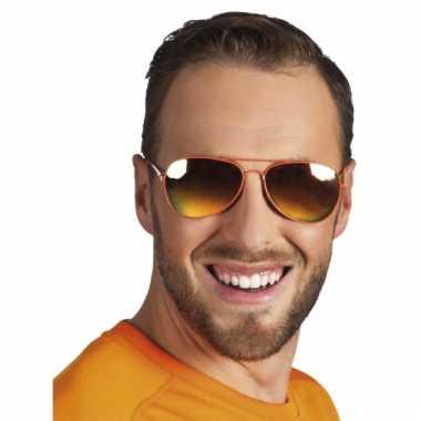 Piloten brillen oranje spiegelglas