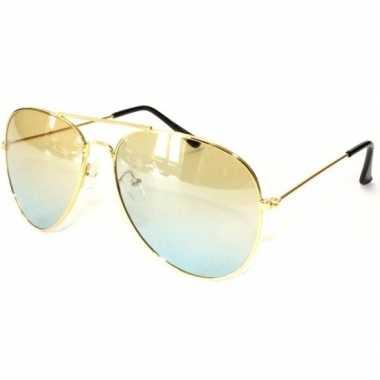 Pilotenbril goud met gele glazen voor volwassenen