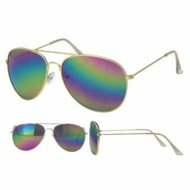 Pilotenbril goud met olie/spiegel glazenvoor volwassenen