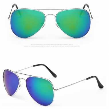 Pilotenbril zilver met blauw/groene glazen voor volwassene