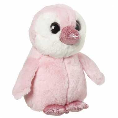 Pinguin knuffeltje roze 18 cm