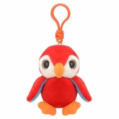 Pinguin sleutelhangertje rood 9 cm