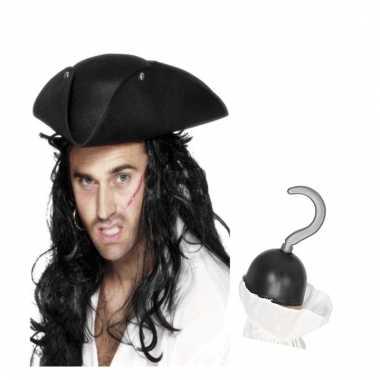 Piraat accessoires verkleedset direhoekige hoed en piratenhaak