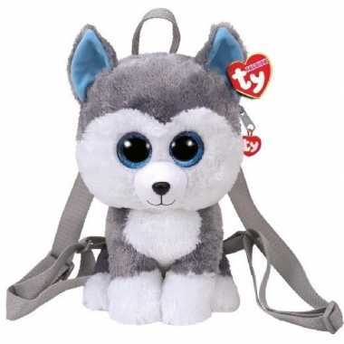 Pluche ty beanie grijze husky hond rugzak slush voor kinderen