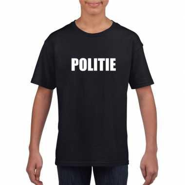 Politie tekst t-shirt zwart kinderen
