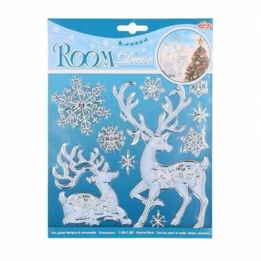Raam decoratie stickers herten en sneeuwvlokken