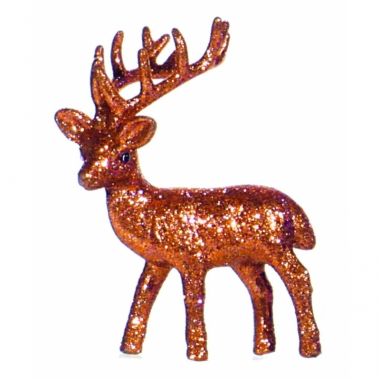 Raamdecoratie rendier oranje 10 cm
