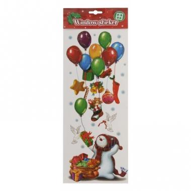 Raamsticker sneeuwpop met ballonnen