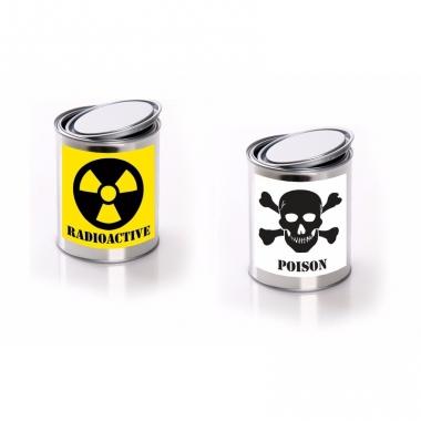 Radioactive/ posion etiket met met lege verfblikken