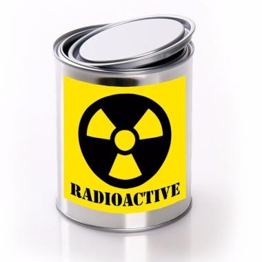 Radioactive/ radioactief etiket met met lege blik
