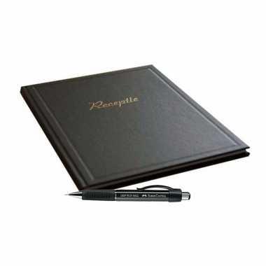Receptie gasten album zwart met luxe pen