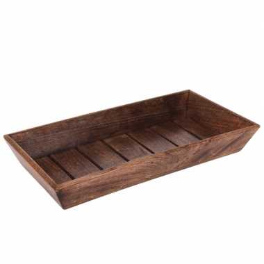 Rechthoekige donker houten blad 39 x 20 x 6 cm