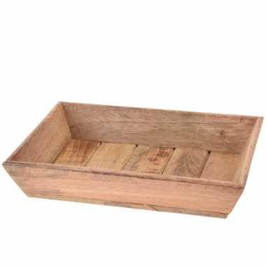 Rechthoekige houten blad 30 x 20 x 6 cm