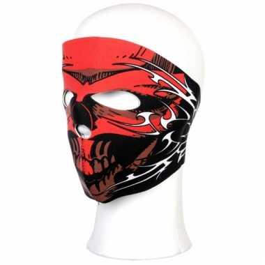 Red skull masker voor motorrijders