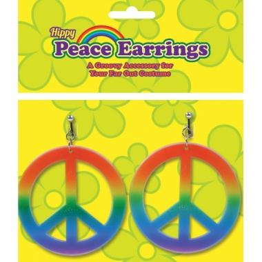 Regenboog oorbellen peace