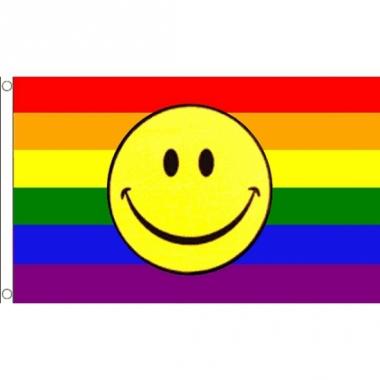 Regenboog smiley versiering vlag