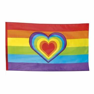 Regenboog versiering vlag 90 x 150 cm