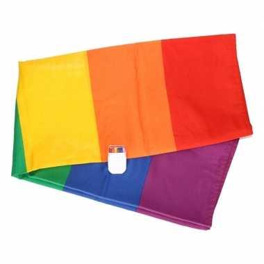 Regenboog vlag 90 x 150 cm met schmink stift