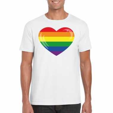 Regenboog vlag in hart shirt wit heren