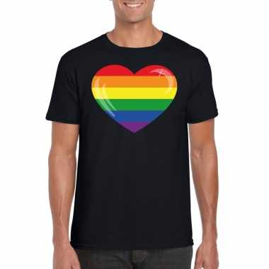 Regenboog vlag in hart shirt zwart heren