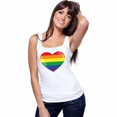 Regenboog vlag in hart singlet wit dames