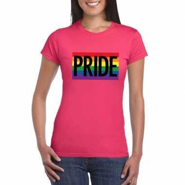 Regenboog vlag pride shirt roze dames