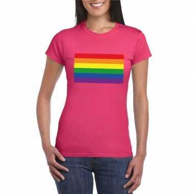 Regenboog vlag shirt roze dames