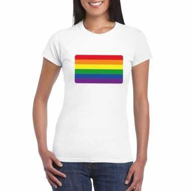 Regenboog vlag shirt wit dames