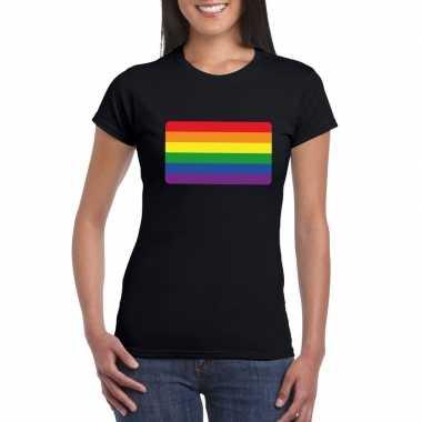 Regenboog vlag shirt zwart dames